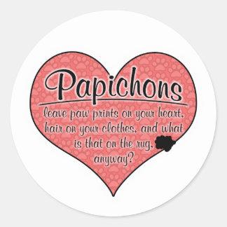 Papichon Paw Prints Dog Humor Classic Round Sticker