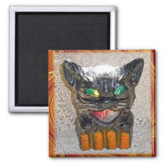 Papier Mache Halloween Cat Matching Items 2 Inch Square Magnet