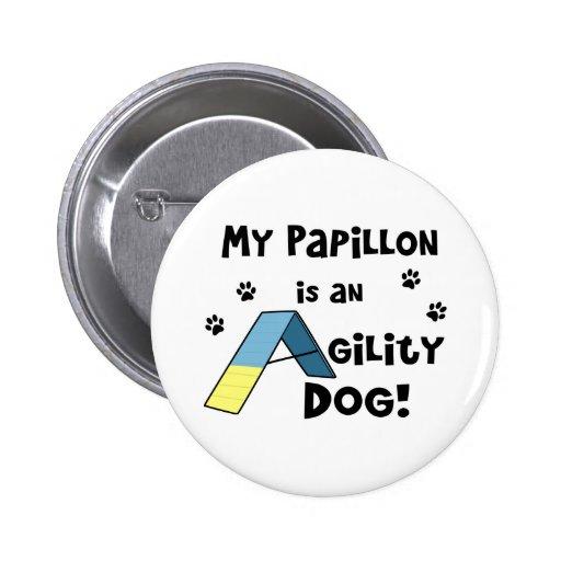 Papillon Agility Dog Button