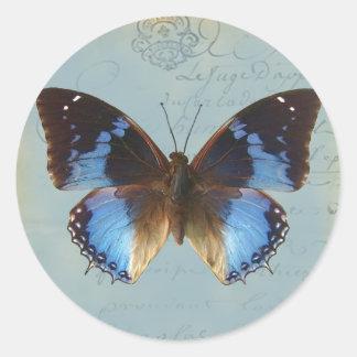 Papillon bleu classic round sticker