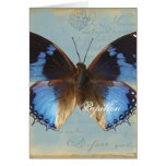 Papillon bleu greeting card