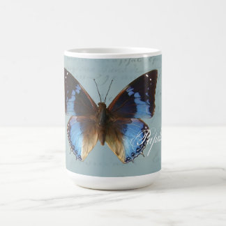 Papillon bleu classic white coffee mug