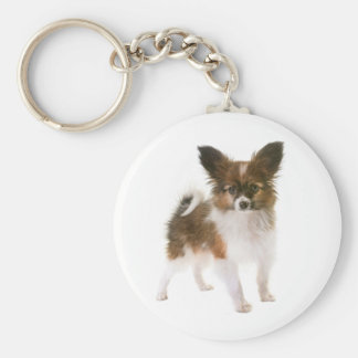 Papillon Brown and White Puppy Dog Keychain