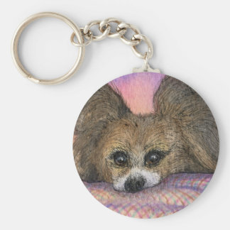 Papillon butterfly dog waiting keychain