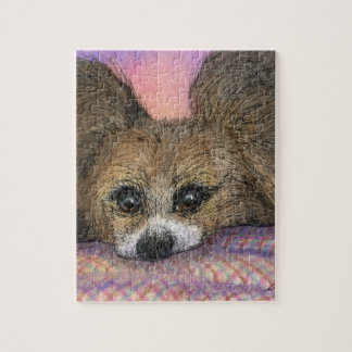 Papillon butterfly dog waiting jigsaw puzzles