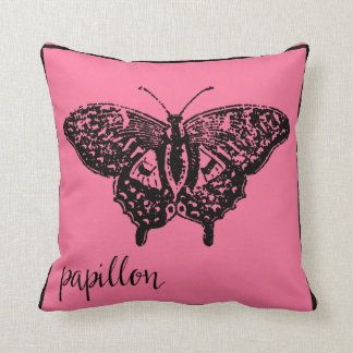 Papillon Butterfly in French Paris Pink Pillow