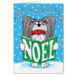 Papillon Christmas Caroler BW Greeting Card