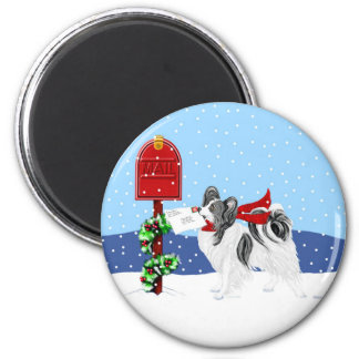 Papillon Christmas Mail Blk Wht 2 Inch Round Magnet