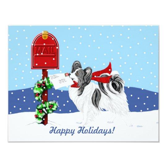 Papillon Christmas Mail Blk Wht Card