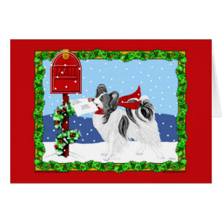 Papillon Christmas Mail Blk Wht Greeting Card