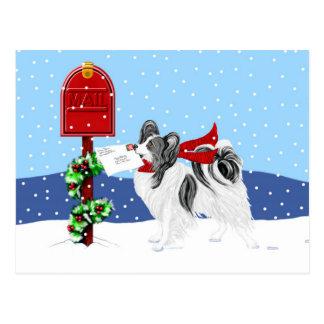 Papillon Christmas Mail Blk Wht Postcard