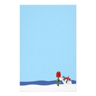 Papillon Christmas Mail Blk Wht Stationery