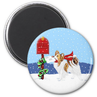 Papillon Christmas Mail Sable 2 Inch Round Magnet