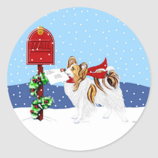 Papillon Christmas Mail Sable Classic Round Sticker