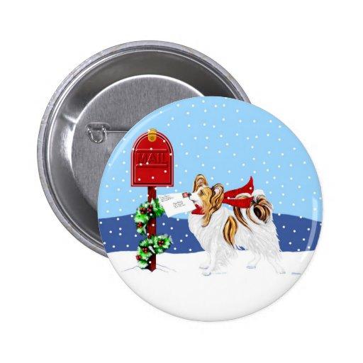Papillon Christmas Mail Sable Pinback Button