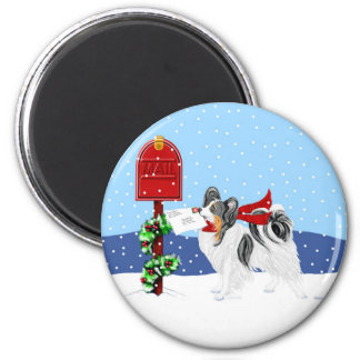 Papillon Christmas Mail Tri Color 2 Inch Round Magnet