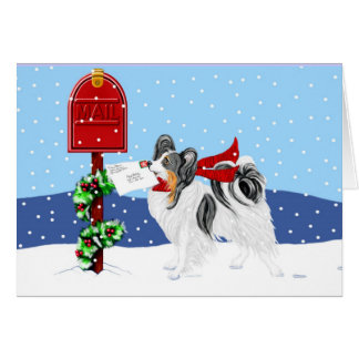 Papillon Christmas Mail Tri Color Greeting Card