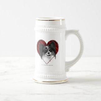 Papillon con el corazón tazas de café