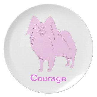 Papillon Courage Cancer Awareness Plate
