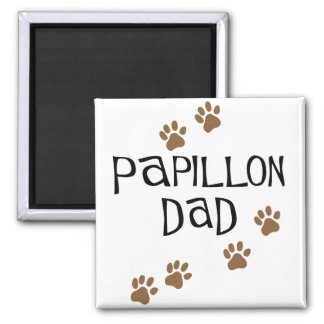 Papillon Dad 2 Inch Square Magnet