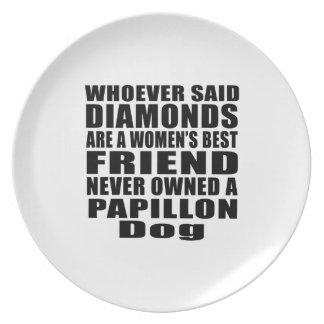 PAPILLON DOG BEST FRIEND DESIGNS DINNER PLATE