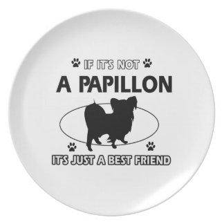 Papillon dog breed designs melamine plate