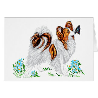 Papillon Dog & Butterfly Eye to Eye Greeting Card