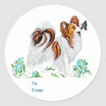 Papillon Dog & Butterfly Eye to Eye Round Stickers
