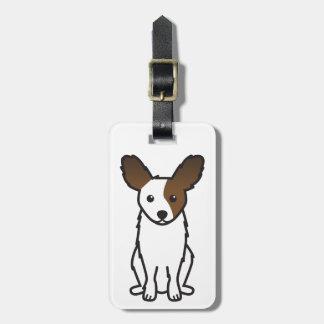 Papillon Dog Cartoon Luggage Tag