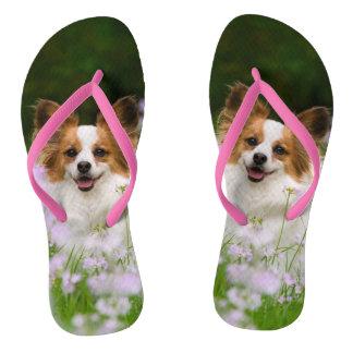 Papillon Dog Cute Romantic Portrait Pet Photo - Flip Flops