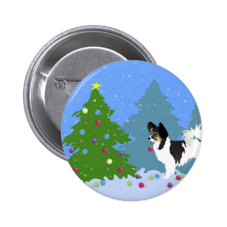 Papillon Dog Decorating Christmas Tree in Forest Button