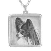 Papillon Dog, Fine Art, Silver Pendant