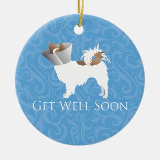 Papillon Dog Get Well Soon Design Ceramic Ornament