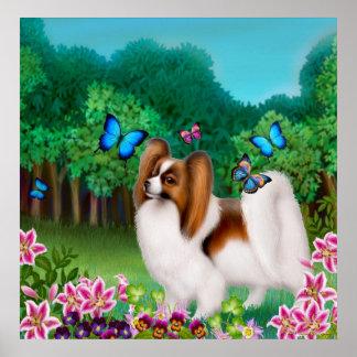 Papillon Dog in Garden Print