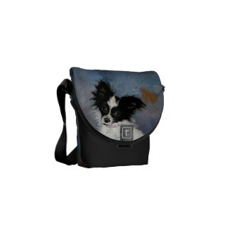 Papillon Dog Portrait Messenger Bag