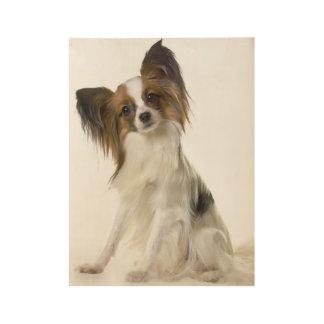 Papillon dog portrait wood poster