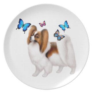 Papillon Dog with Butterflies Plate