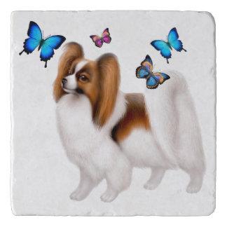 Papillon Dog with Butterflies Stone Trivet Trivets