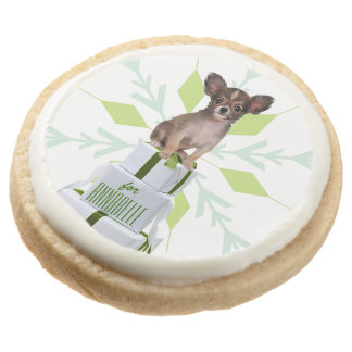 Papillon Dog with Gifts | Christmas Green Treats Round Premium Shortbread Cookie