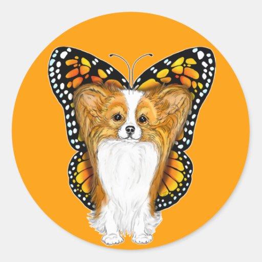 Papillon en disfraz pegatina redonda