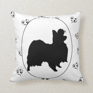 Papillon Hearts and Pawprints Throw Pillow