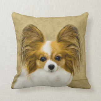 Papillon (Hound Tri Color) Throw Pillow