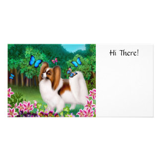 Papillon in Garden Photo Card