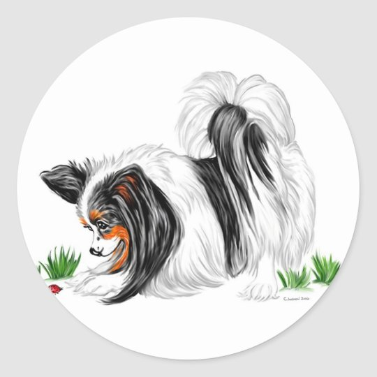 Papillon Lady Bug Dreams Classic Round Sticker