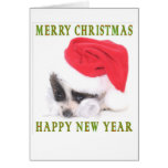 PAPILLON PUPPY CHRISTMAS CARD