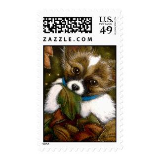 PAPILLON PUPPY DOG AUTUMN Postage