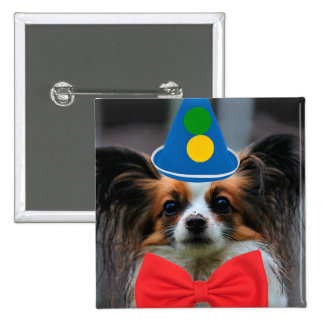 Papillon Puppy Dressed as a Clown 2 Inch Square Button