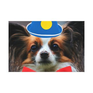 papillon puppy dressed as a clown canvas print