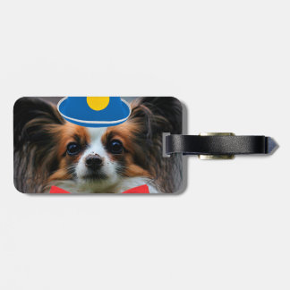 Papillon Puppy Dressed as a Clown Luggage Tag