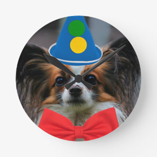 Papillon Puppy Dressed as a Clown Round Clock